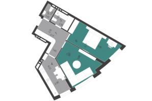 ЖК Парус City: планування 2-кімнатної квартири 59.15 м²