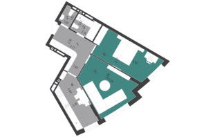 ЖК Парус City: планування 2-кімнатної квартири 61.06 м²