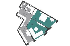 ЖК Парус City: планування 2-кімнатної квартири 59.8 м²