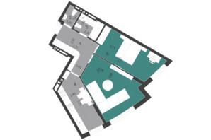 ЖК Парус City: планування 2-кімнатної квартири 64.04 м²