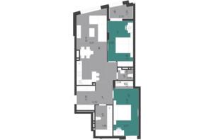 ЖК Парус City: планування 2-кімнатної квартири 85.13 м²