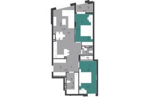 ЖК Парус City: планування 2-кімнатної квартири 84.66 м²