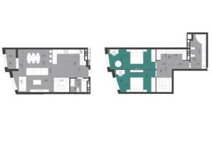 ЖК Парус City: планування 2-кімнатної квартири 120.8 м²
