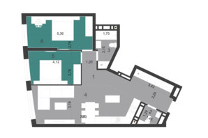 ЖК Парус City: планування 2-кімнатної квартири 72.27 м²