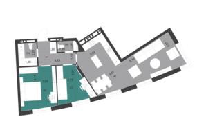 ЖК Парус City: планування 2-кімнатної квартири 70.98 м²