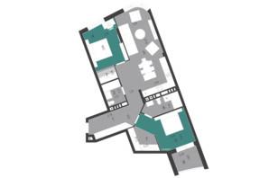 ЖК Парус City: планування 2-кімнатної квартири 87.1 м²