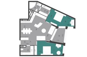 ЖК Парус City: планування 2-кімнатної квартири 99 м²