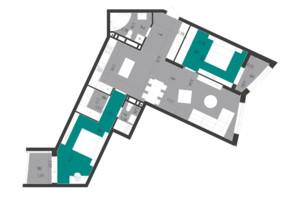 ЖК Парус City: планування 2-кімнатної квартири 95.39 м²