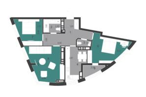 ЖК Парус City: планування 3-кімнатної квартири 76.72 м²