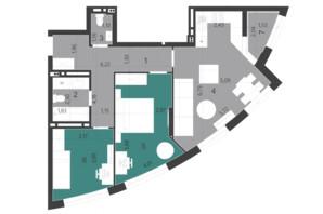 ЖК Парус City: планування 2-кімнатної квартири 69.51 м²