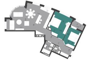 ЖК Парус City: планування 2-кімнатної квартири 91.46 м²