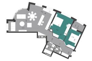 ЖК Парус City: планування 2-кімнатної квартири 97.26 м²