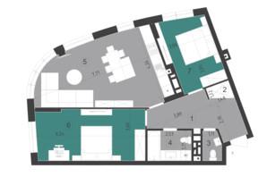ЖК Парус City: планування 2-кімнатної квартири 75.1 м²