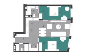 ЖК Парус City: планування 3-кімнатної квартири 82.8 м²