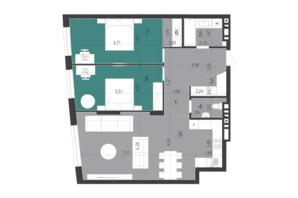 ЖК Парус City: планування 2-кімнатної квартири 88.4 м²