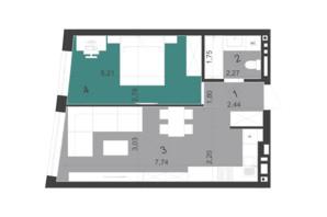 ЖК Парус City: планування 1-кімнатної квартири 44.6 м²