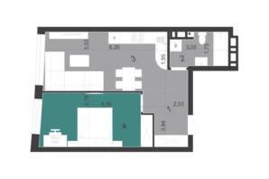 ЖК Парус City: планування 1-кімнатної квартири 45.2 м²