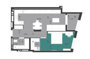ЖК Парус City: планування 1-кімнатної квартири 59.24 м²
