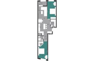 ЖК Парус City: планування 2-кімнатної квартири 76.71 м²
