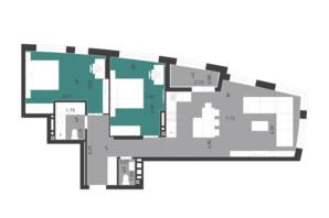 ЖК Парус City: планування 2-кімнатної квартири 81.58 м²