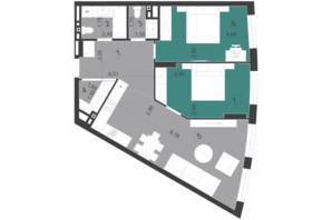 ЖК Парус City: планировка 2-комнатной квартиры 72.89 м²