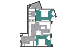 ЖК Парус City: планировка 2-комнатной квартиры 70.7 м²