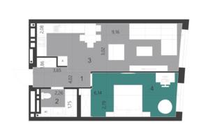 ЖК Парус City: планировка 1-комнатной квартиры 50.1 м²