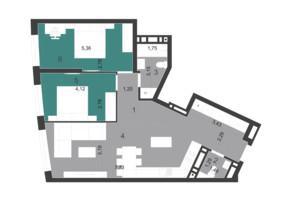 ЖК Парус City: планировка 2-комнатной квартиры 72.27 м²