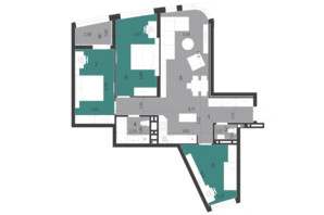 ЖК Парус City: планировка 3-комнатной квартиры 93.94 м²