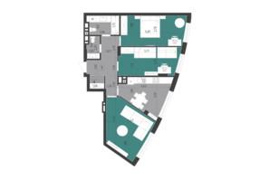 ЖК Парус City: планировка 3-комнатной квартиры 76.4 м²
