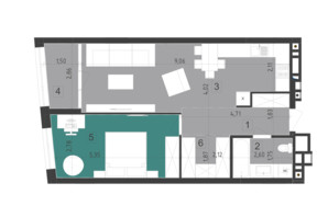ЖК Парус City: планировка 4-комнатной квартиры 58.5 м²