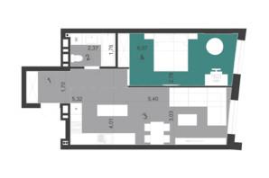 ЖК Парус City: планировка 1-комнатной квартиры 52 м²