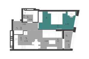 ЖК Парус City: планировка 1-комнатной квартиры 49.3 м²