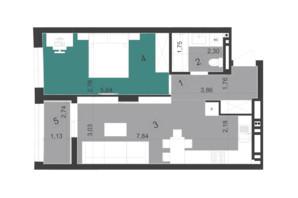 ЖК Парус City: планировка 1-комнатной квартиры 49.9 м²