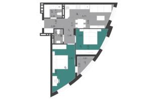 ЖК Парус City: планировка 2-комнатной квартиры 60.46 м²