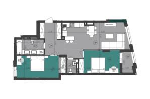 ЖК Парус City: планировка 2-комнатной квартиры 84.3 м²