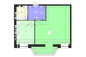 ЖК Парус (Parus): планировка 1-комнатной квартиры 59.8 м²