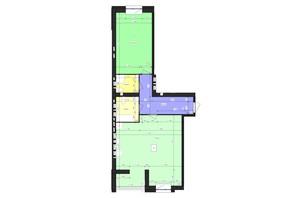 ЖК Парус (Parus): планування 1-кімнатної квартири 76.73 м²