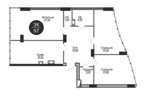 ЖК Parus (Парус): планування 3-кімнатної квартири 97 м²