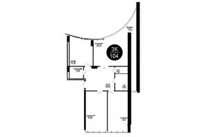 ЖК Parus (Парус): планування 3-кімнатної квартири 104 м²