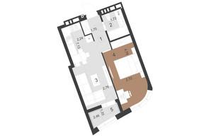 ЖК Парус Преміум: планування 1-кімнатної квартири 41.8 м²