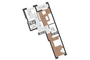 ЖК Парус Преміум: планування 2-кімнатної квартири 58.2 м²