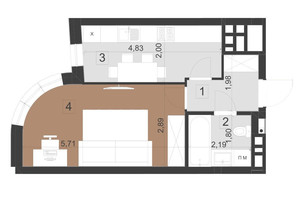 ЖК Парус Преміум: планування 1-кімнатної квартири 33.2 м²
