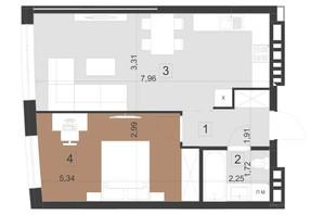 ЖК Парус Преміум: планування 1-кімнатної квартири 49.4 м²