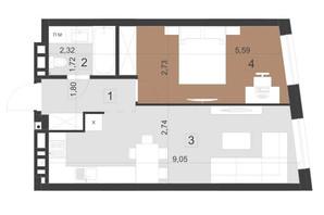 ЖК Парус Преміум: планування 1-кімнатної квартири 45.7 м²