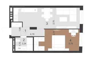 ЖК Парус Преміум: планування 1-кімнатної квартири 45.6 м²