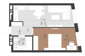 ЖК Парус Преміум: планування 1-кімнатної квартири 42.1 м²