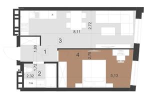 ЖК Парус Преміум: планування 1-кімнатної квартири 43.2 м²