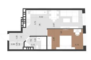 ЖК Парус Преміум: планування 1-кімнатної квартири 50.5 м²