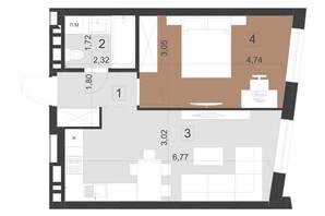 ЖК Парус Преміум: планування 1-кімнатної квартири 43.5 м²
